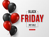 Black Friday sale typographic design. 3d stylized red color letters with glossy balloons. White background. Vector illustration.