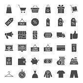 Black Friday Solid Web Icons. Vector Set of Business Glyphs.