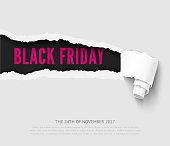 Black friday vector template with realistic paper hole with roll
