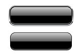Black glass buttons with and without metal frame. Vector 3d illustration