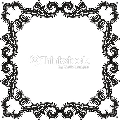 Black Gothic Art Corner Fine Element Set Vector