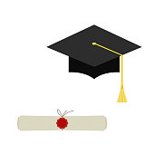 Black  graduation cap and diploma scroll web  icon  isolated on  white  background.  Mortarboard  flat design vector illustration.