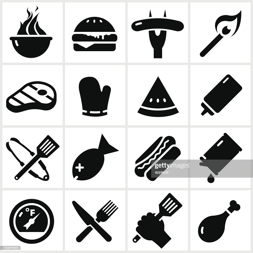 Black Grilling Icons : Vector Art