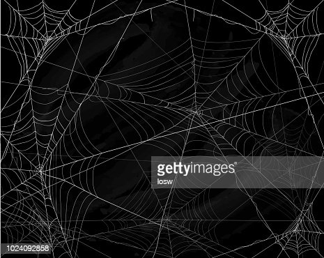 Black Halloween background with spiderwebs : Vector Art