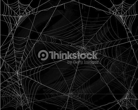 Black Halloween background with spiderwebs : stock vector