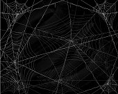 Black grunge background with spider webs, illustration.