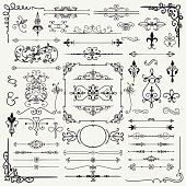 Black Hand Drawn Sketched Decorative Doodle Design Elements. Frames, Text Frames, Dividers, Borders, Corners, Swirls, Scrolls. Vector Illustration