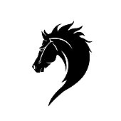 Black head horse icon vector isolated on white background. Black head horse icon vector illustration, editable stroke and EPS10. Black head horse icon vector simple symb