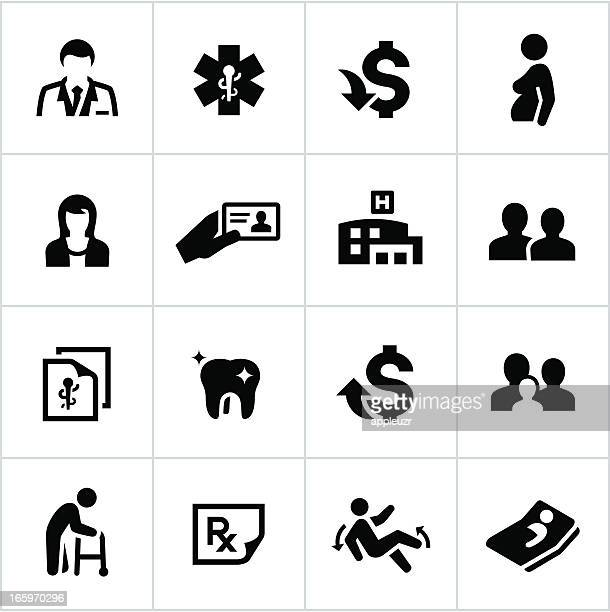 Black Health Insurance Icons