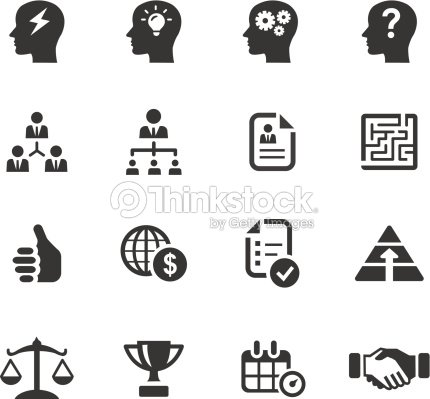 Black Icons Related To Business And Management stock
