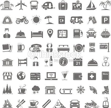 Black Icons Travel Vector Art