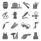 Welding equipment icon set