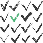 Black ink brush stroke check marks set, black brush checkmarks. Hand drawn style traced paint check marks, ticks concepts. Vector illustration isolated on white background