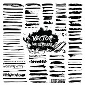 Big collection of black ink brush strokes. Vector grunge messy stains isolated on white background. Artistic backdrop for logos, banners and headlines.