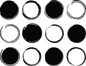 Black ink round frames. Vector clip art illustrations isolated on white