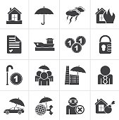 Black Insurance and risk icons - vector icon set