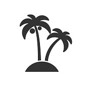 Black isolated icon of palms on white background. Silhouette of palm