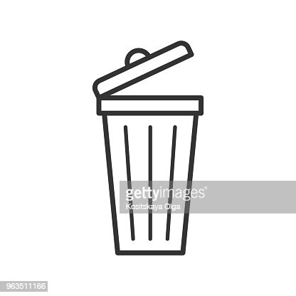 Black isolated outline icon of dust bin on white background. Line Icon of bin for trash. : stock vector