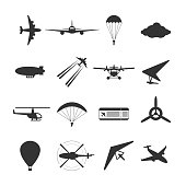 Black isolated silhouette of hydroplane, airplane, parachute, helicopter, propeller, hang-glider, dirigible, paraglide balloon Set of aviation icon