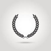 Black laurel silhouette foliate circular laurel wreath depicting an award achievement quality winner heraldry wreath isolated  vector