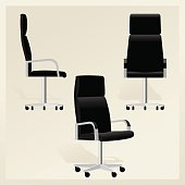 Set of Black leather office chair for boss from different sides