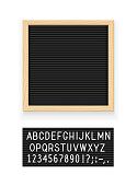 Black letter board. Letterboard for note. Plate for message. Office stationery. Isolated white background. EPS10 vector illustration.