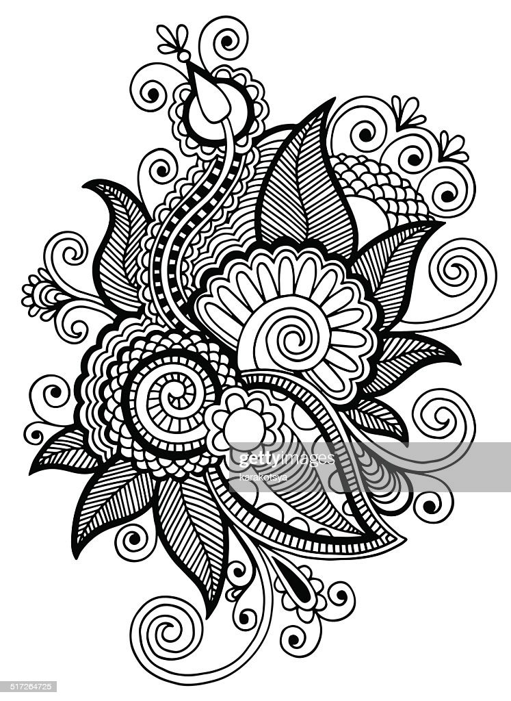 Line Art Media Design : Black line art ornate flower design collection vector