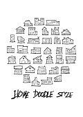 Black Line House doodle illustration circle line sketch style