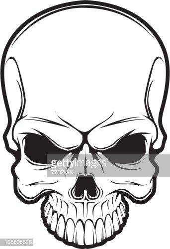Line Art Skull : Black line skull vector art getty images