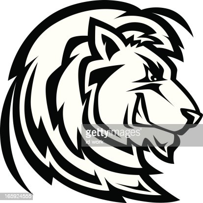 black lion head logo or mascot on white background vector