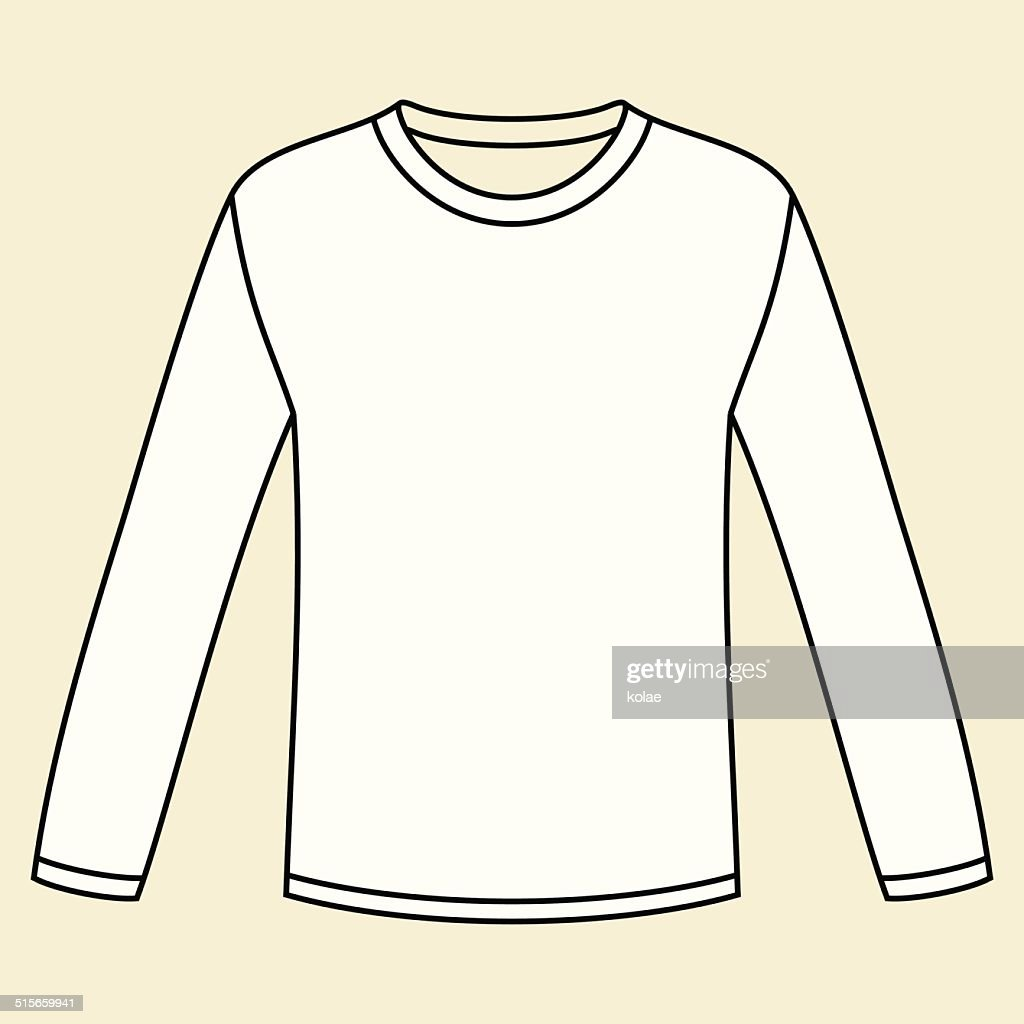 black longsleeved tshirt template vector art getty images. Black Bedroom Furniture Sets. Home Design Ideas