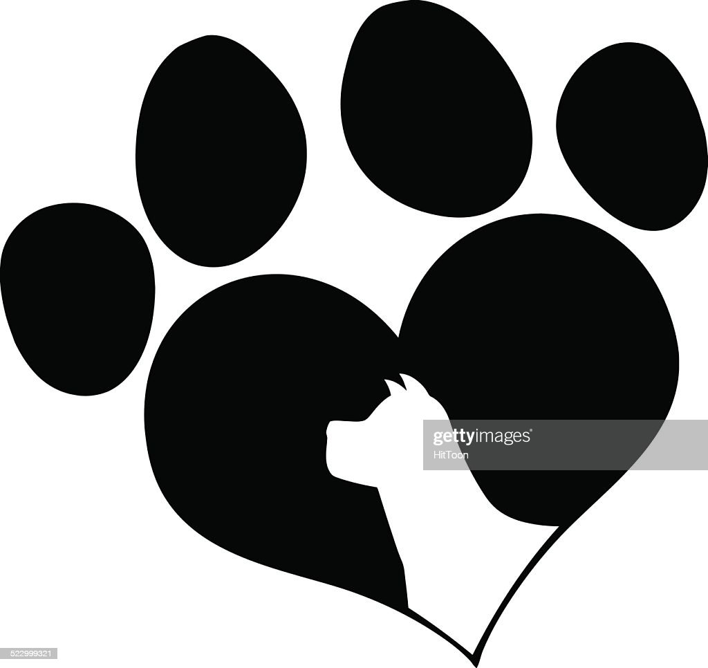 Download Black Love Paw Print With Dog Head Silhouette Vector Art ...