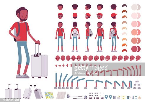 Black male tourist with trip luggage, rucksack. Character creation set : stock vector