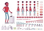 Black male tourist with trip luggage and rucksack. Character creation set. Full length, different views, emotions and gestures. Build your own design. Cartoon flat-style infographic illustration