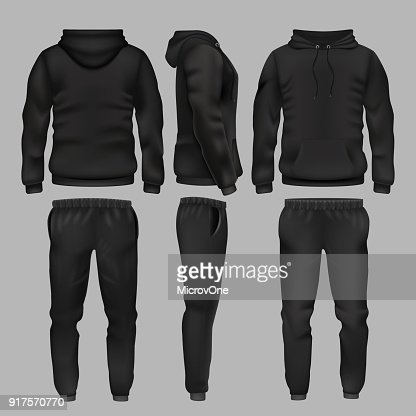 Black man sportswear hoodie and trousers vector mockup isolated : stock vector