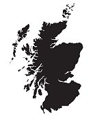 black vector map of Scotland