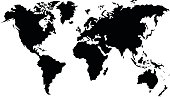 vector black map of the world