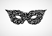 Black masquerade mask isolated on white background. Eps8. RGB. Global color