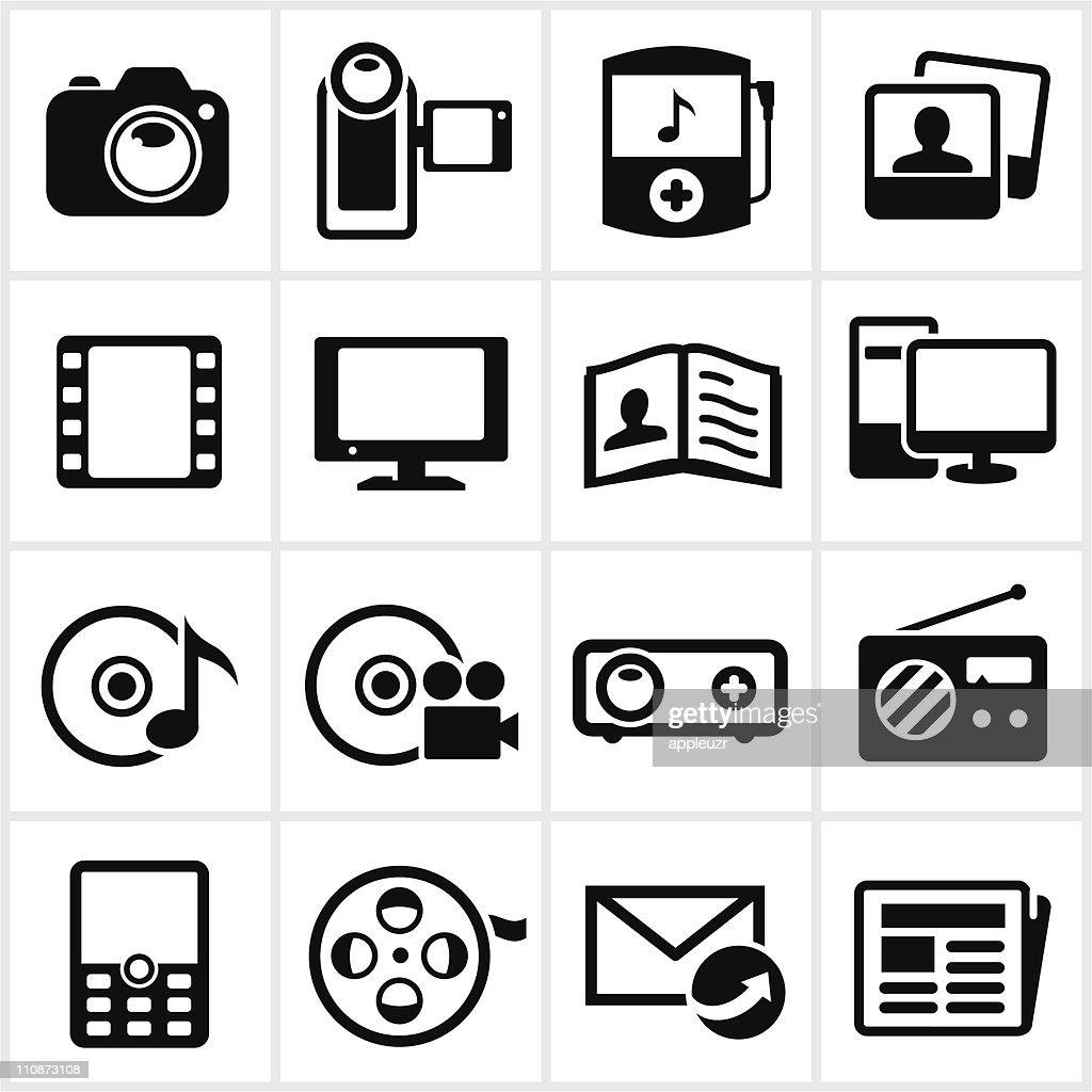 Black Media Icons : Vector Art