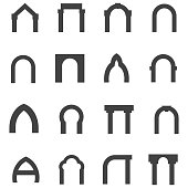 Set of black silhouette monolith vector icons for different types of arch on white background.
