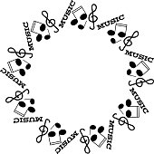 Black notes, warp and treble clef on white background in ring.Vector Illustration.