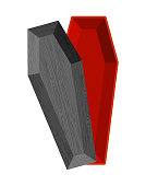 Black open coffin. Red interior of casket. Religious object for burial