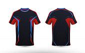 Black, orange and blue layout e-sport t-shirt design template
