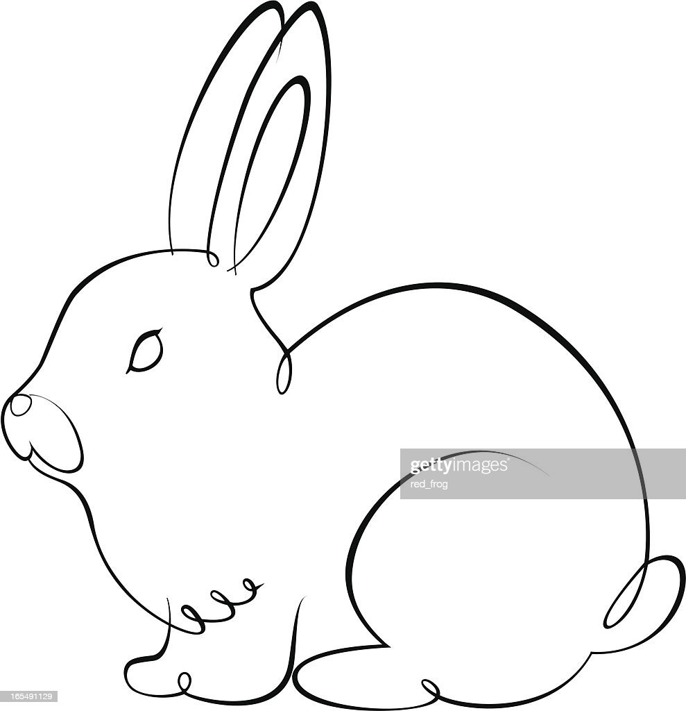 black outline sketch of rabbit with swirled pen vector art getty
