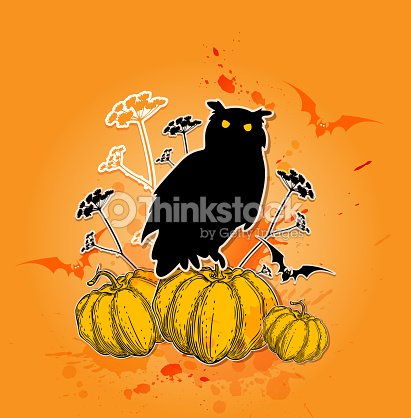black owl and pumpkins ベクトルアート thinkstock