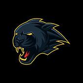 Black panther head mascot esport, sport symbol