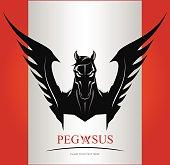 Black Pegasus Horse Head. suitable for team identity, sport club logo or mascot, insignia, embellishment, emblem, illustration for apparel, mascot, equestrian club, motorcycle community, etc.