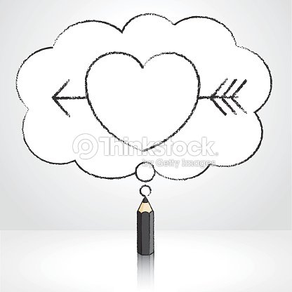 black pencil drawing arrow through heart in thought cloud bubble