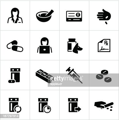 Black Pharmacy Icons Vector Art Getty Images