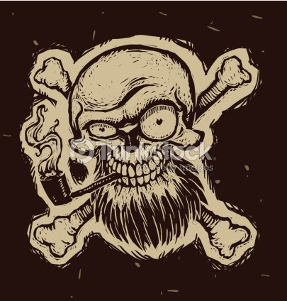 Black Pirate Skull With A Tobacco Pipe Vector Art Thinkstock